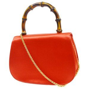 Authentic GUCCI Bamboo Line 2way Mini Hand Bag Red
